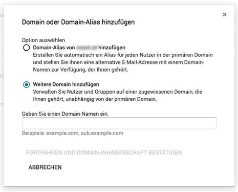Domain oder Domain-Alias hinzufügen