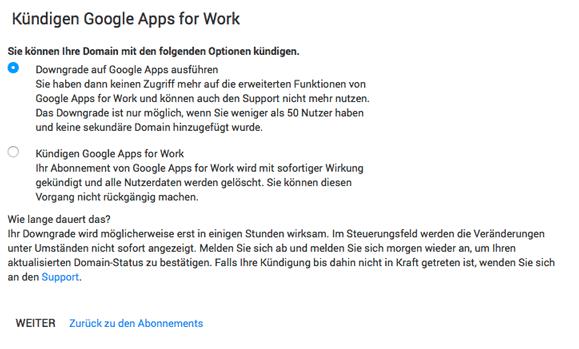 Downgrade auf Google Apps ausführen