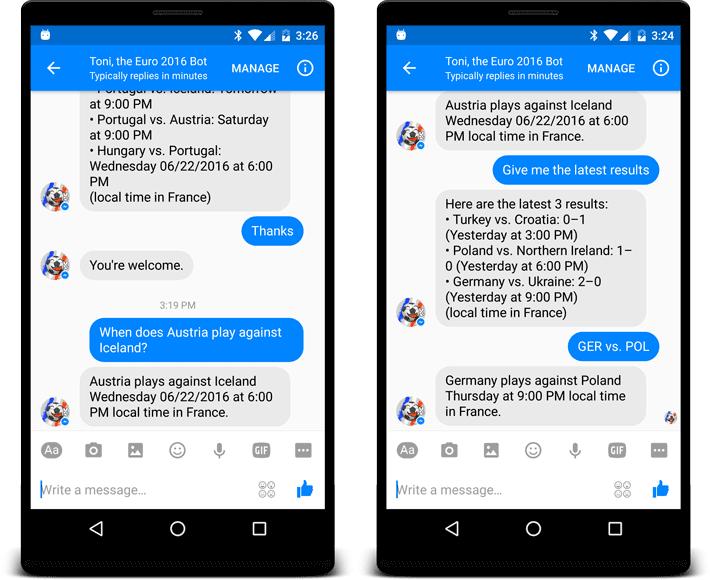 Chatbot EM 2016 Frankreich